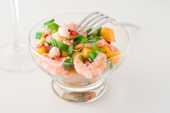 Prawn, cucumber and mango salad Royalty Free Stock Photo
