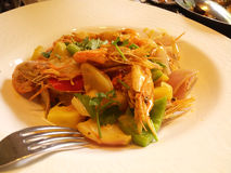 Prawn curry. A dish of Prawn curry with potato chips and pepper, delicious, eaten at a Portuguese restaurant in Hangzhou Royalty Free Stock Photos