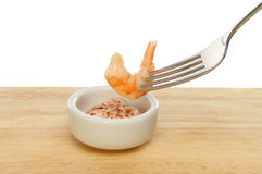 Prawn on fork Stock Images