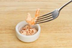 Prawn on fork Stock Photo