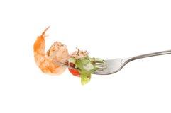 Prawn on fork Royalty Free Stock Image