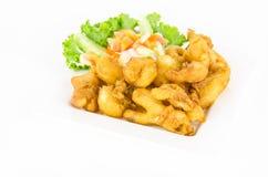 Prawn fried ready to eat on white background Stock Photos