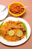 Prawn fry. Indian food - plate of chicken biriyani with prawn fry Stock Images