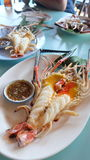 Prawn grill, food try in Thailand Royalty Free Stock Photos