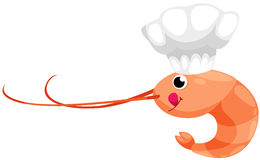 Prawn with hat chef vector illustration