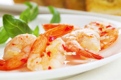 Prawn Kebabs with Chilli and Garlic Royalty Free Stock Image