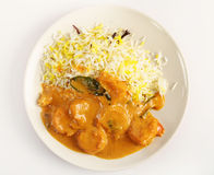 Prawn korma high angle Royalty Free Stock Images