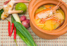 Prawn and lemon grass soup with mushrooms Royalty Free Stock Photo