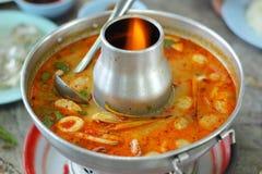 Prawn and lemon soup in pot Stock Photos