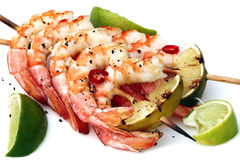 Prawn and Lime Skewers Royalty Free Stock Images