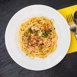 Prawn linguine pasta with basil royalty free stock image