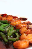 Prawn and Long Beans. Fried prawn and long beans in soya sauce stock image