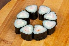 Prawn maki roll. Ebi with nori Royalty Free Stock Image
