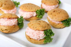 Prawn meat canapes Stock Photography