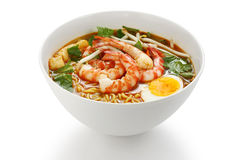 Prawn mee, prawn noodles. On a white background stock photography