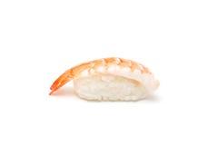 Prawn nigiri. A delicious piece of prawn nigiri isolated on white stock image