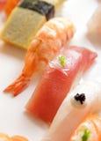 Prawn nigiri sushi and tuna nigiri sushi on nigiri sushi platter Stock Images