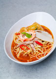 Prawn noodle. Malaysian food spicy noodles royalty free stock photo