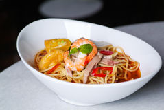 Prawn noodle. Malaysian food spicy noodles royalty free stock images