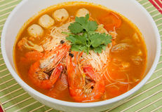 Prawn noodle. Malaysian food spicy noodles royalty free stock image
