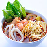 Prawn noodle asia food. Prawn noodle - Malaysian food spicy noodles stock photos