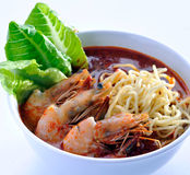 Prawn noodle - Malaysian food noodles. Prawn noodle - Malaysian food spicy noodles royalty free stock photography