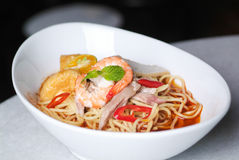 Prawn noodle - Malaysian food. Spicy noodles royalty free stock photos