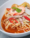 Prawn noodle - Malaysian food. Spicy noodles stock photography