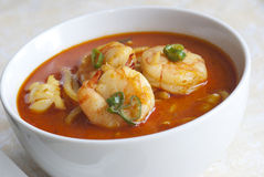 Prawn and noodle soup stock images
