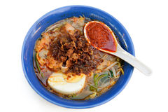 Prawn noodle soup. Malaysian spicy noodle soup, also called as Hokkien Mee Royalty Free Stock Image