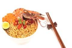 Prawn noodle soup. Stock Photo