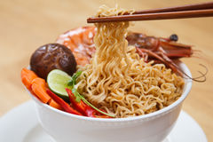 Prawn noodle soup Royalty Free Stock Images