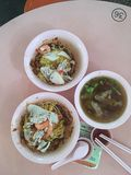 Prawn noodles dry with pork rib soup herbal. Dry chinese prawn noodles with pork rib herbal Royalty Free Stock Photography
