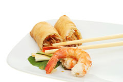 Prawn and pancake roll Stock Image