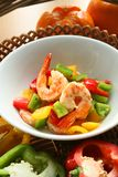 Prawn with pepper. Chinese stir-fry prawn with bell pepper stock photo