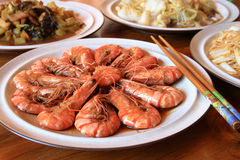 Prawn on plate. A plate prawn in front of some chinese food Stock Images