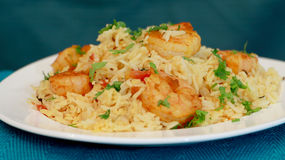 Prawn pulao is a lightly spiced rice and prawn preparation from Stock Photo