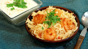 Prawn pulao is a lightly spiced rice and prawn preparation from Royalty Free Stock Photos