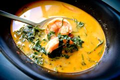 Prawn red curry, thai traditional style Royalty Free Stock Photos