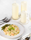 Prawn Risotto. With parsley dressing and parmesan cheese Royalty Free Stock Images