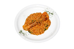 Prawn Risotto. Fresh prawn risotto isolated on a white background Royalty Free Stock Image
