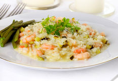 Prawn Risotto, front view. With parsley dressing Stock Photography
