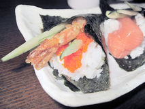 Prawn roe cucumber  maki. A plate of maki showing prawn roe maki in the picture Royalty Free Stock Images