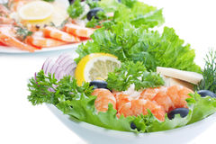 Prawn Salad. Prawns Salad on white background Stock Image