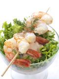 Prawn salad. A prawn salad with lettuce,cucumber and dill in a bowl and a shrimp souvlaki on it royalty free stock images