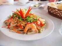 Prawn Salad. A plate of prawn salad Stock Photos