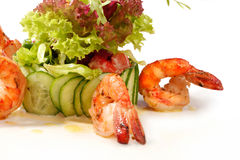 Prawn salad. With lettuce. Closeup Royalty Free Stock Photo