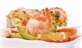 Prawn salad with avocado stock images