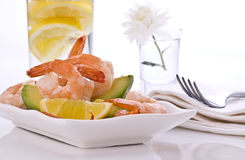 Prawn salad with avocado royalty free stock photography