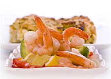 Prawn salad  with avocado lemon Royalty Free Stock Photography